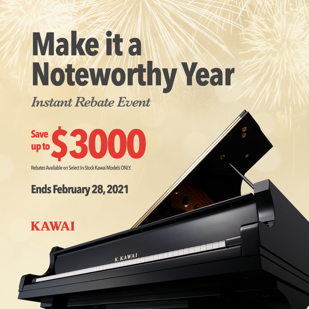 Promotions and Deals on Pianos and Organs in Michigan - Evola Music - Noteworthy_2021_Social_Square