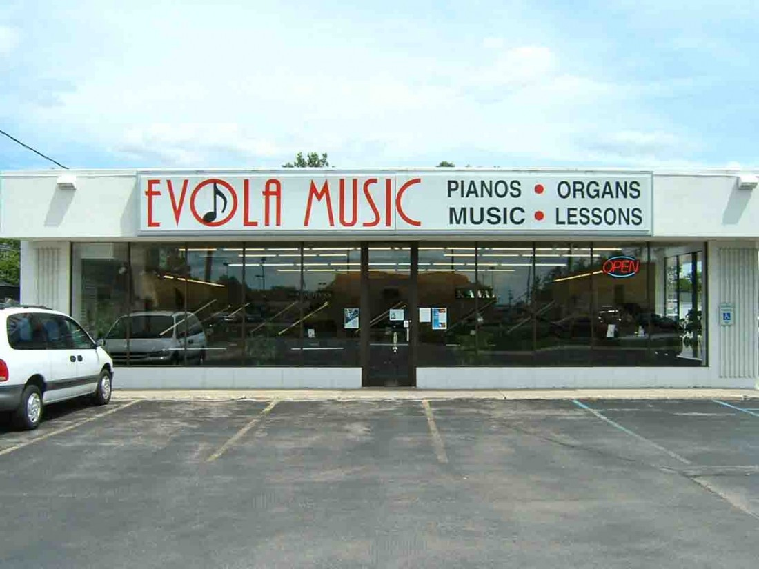 Image of an Evola Music storefront